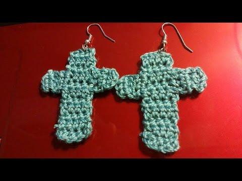 How To Making An Easy Crochet Cross Cross Earrings Youtube