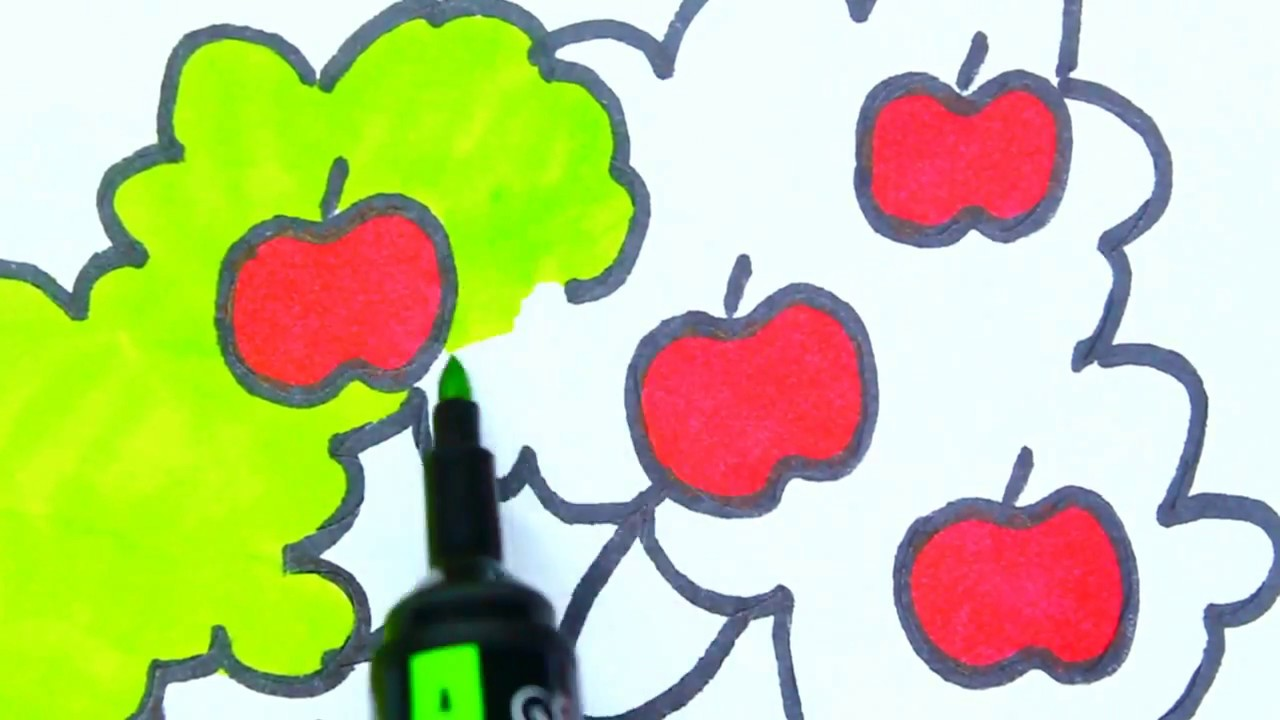 How To Draw An Apple Tree | Kids Coloring Page | Creativity for ...