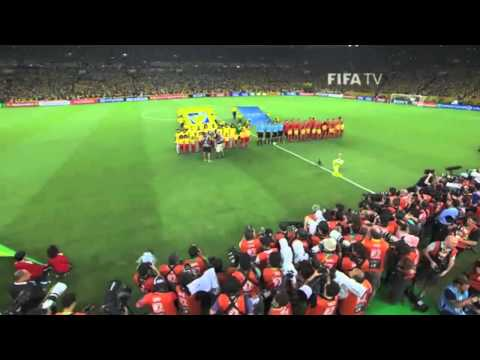 Brazilian's sing National Anthem before Confederations Cup Final 2013