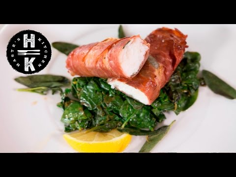 Prosciutto Wrapped Cod With Lemon Spinach