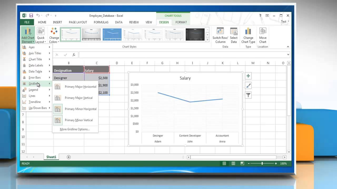 How to show hide gridlines in line graphs in excel 2013 youtube how to show hide gridlines in line graphs in excel 2013 ccuart Choice Image