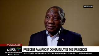 RWC Final | President Cyril Ramaphosa congratulates the Springboks