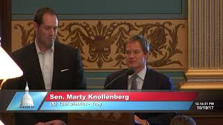 Sen. Knollenberg honors Matt Patton for his service to the Michigan Senate