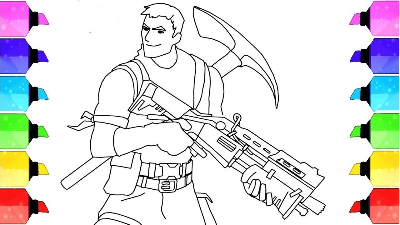 How To Draw Survivalist From Fortnite Video Game Coloring Page Drawing Extra
