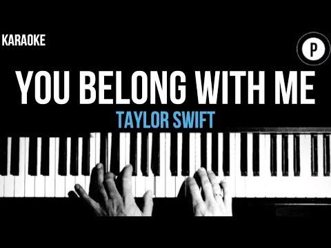 Taylor Swift - You Belong With Me Karaoke SLOWER Acoustic Piano Instrumental Cover Lyrics