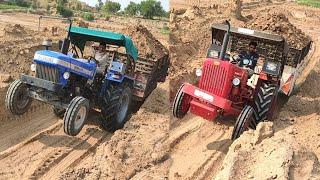 Sonalika 750 vs Mahindra 575 Di tractor special edition full loaded trolley video | Raju ki Masti