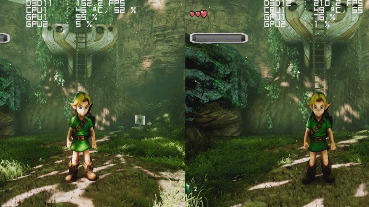 Unreal Engine 4 - Ocarina Of Time - DX11 vs DX12 Framerate Comparison