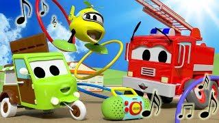 Musical-Hula-Hoops mit dem Baby Autos in der Auto-Stadt ! - Karikatur für Kinder