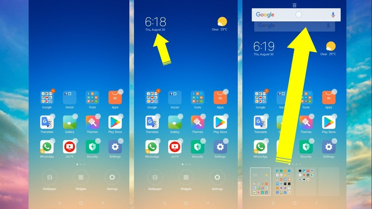 Adding Google Search & Clock Widget in Redmi Note 5