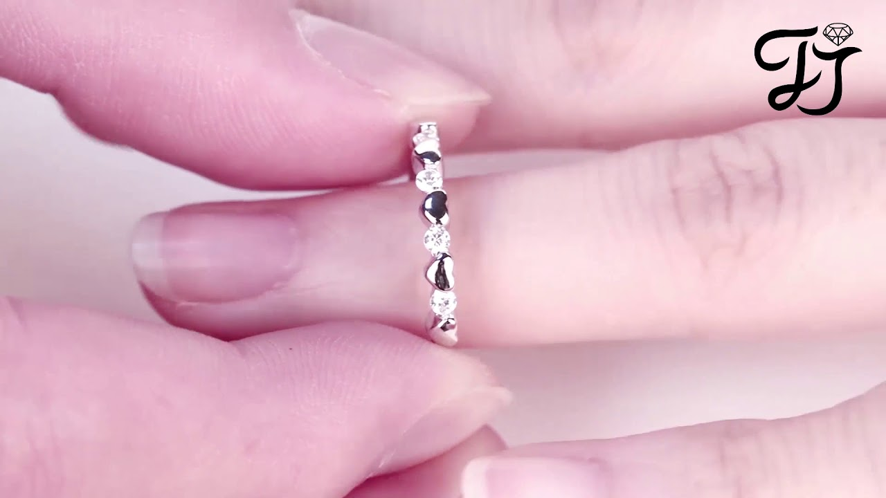 Silver White CZ Plain Small Heart Ring For Wedding - FarJary - YouTube