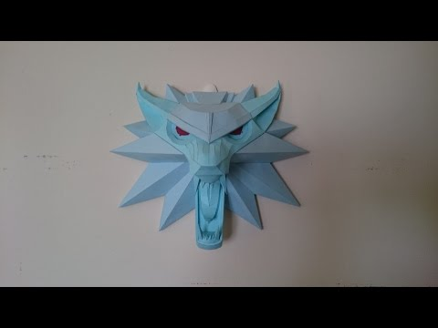 Witcher 3 Papercraft: Wolf Medallion large for wall