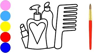 Beauty Accessories Coloring Page and Drawing for Kids with Marker
