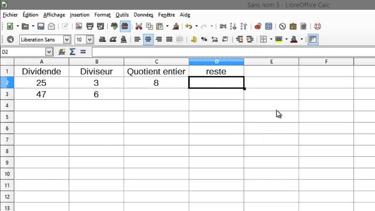 Tableur division euclidienne youtube - Comment faire un tableau sur open office calc ...