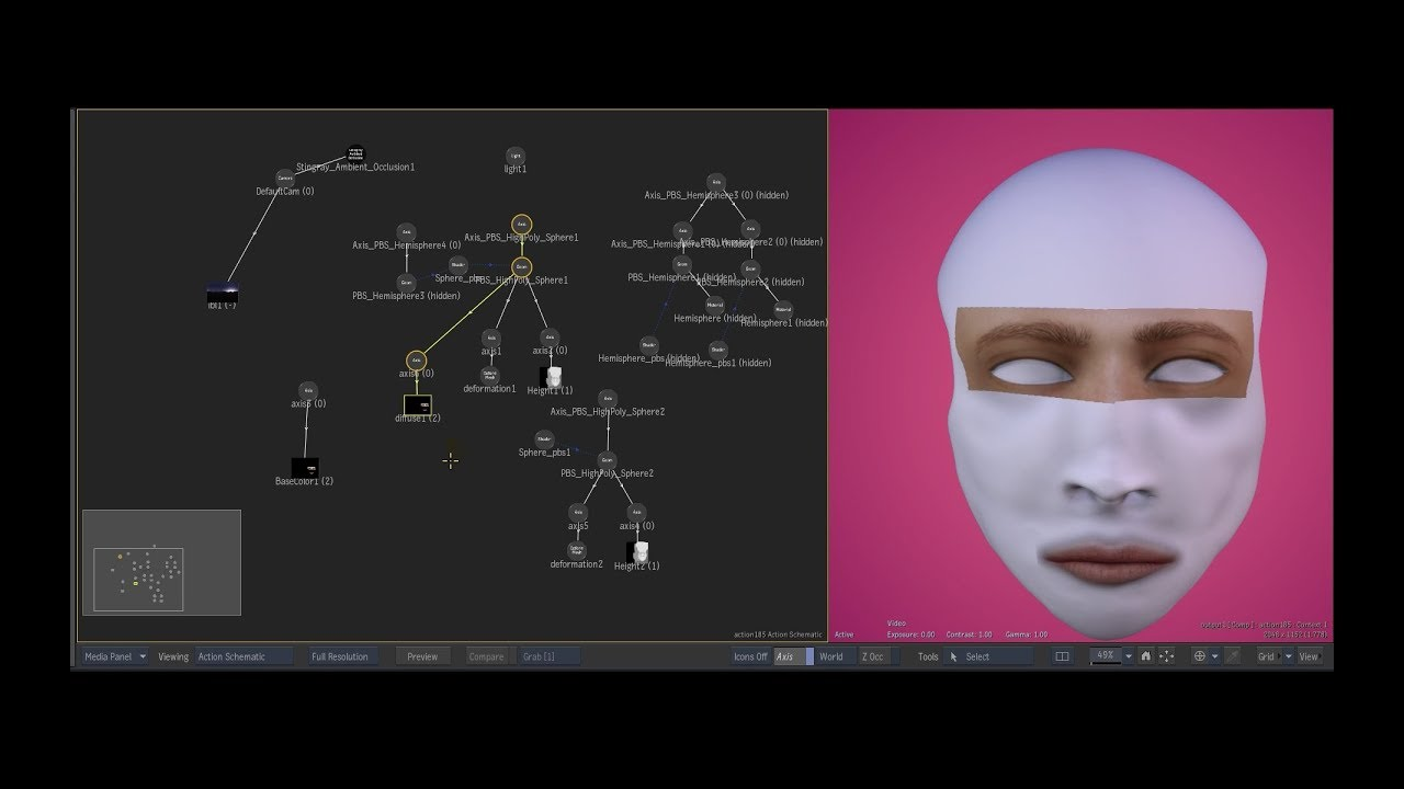 Facial sculpting experiment in Autodesk Flame