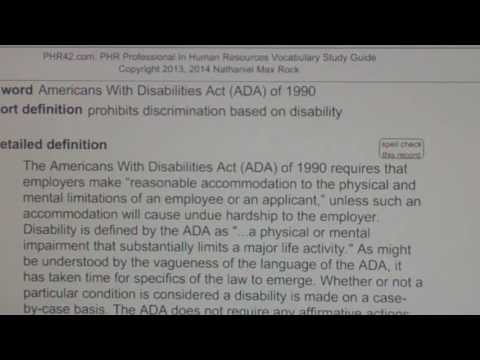 Americans With Disabilities Act (ADA) of 1990 PHR SPHR Human Resources License Exam VocabUBee.com