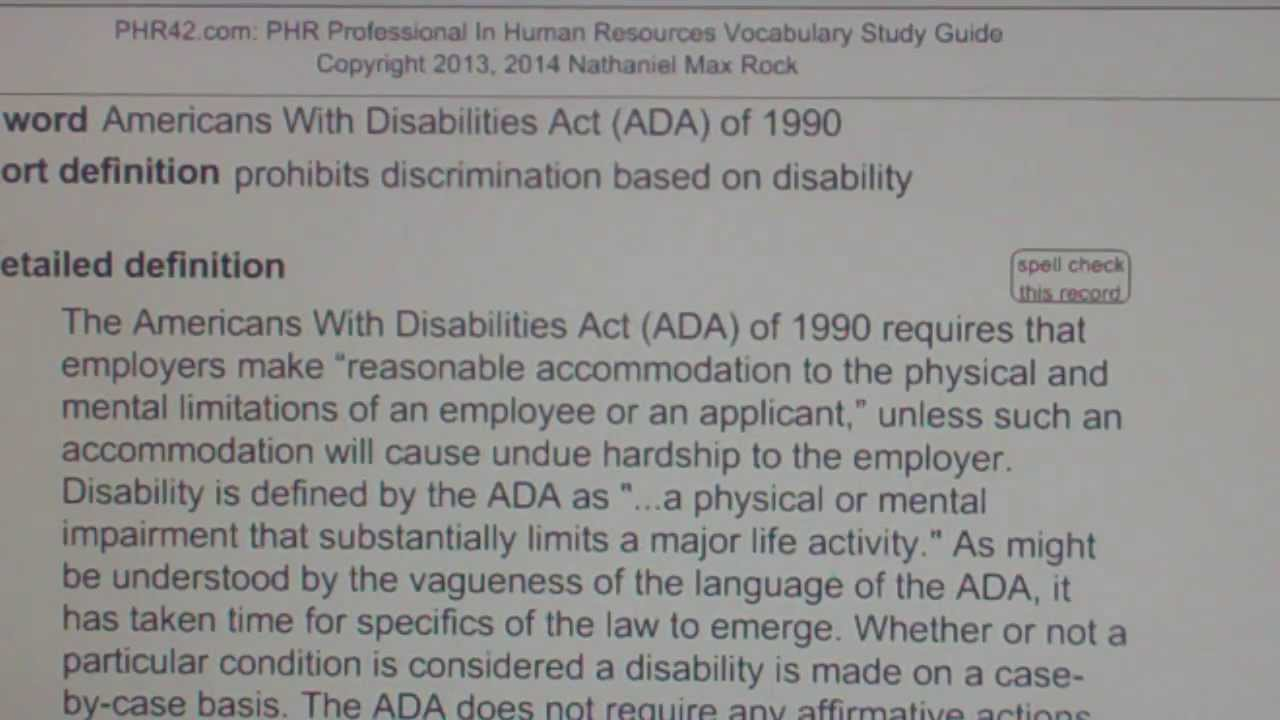 Americans With Disabilities Act (ADA) of 1990 PHR SPHR