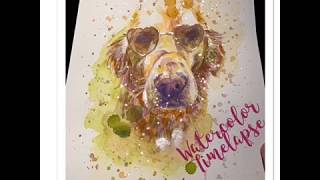 Watercolor Painting Timelapse - Dog Portrait - M Santos Art