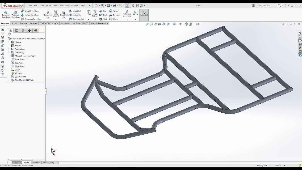How to design Gokart frame in Solidworks - YouTube