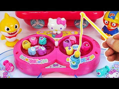 Hello Kitty mini Fishing play! Let's go Fishing Game with Baby Shark, Pororo! #PinkyPopTOY