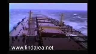 Huge ship sailing in biggest ocean waves ever