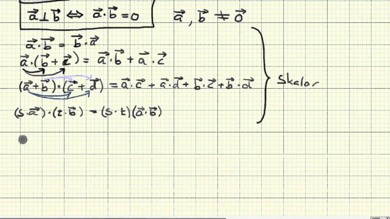 Matematikk R2   Regneregler for skalarproduktet