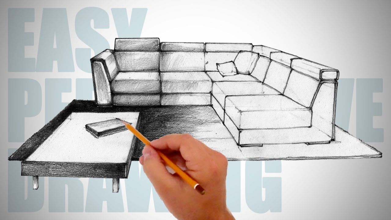 How To Draw Furniture Easy Perspective Drawing 12 Youtube