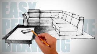 How To Draw Furniture  - Easy Perspective Drawing 12