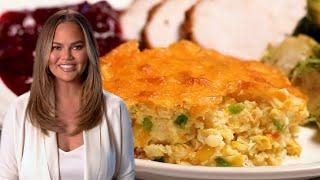 Chrissy Teigen Makes Jalapeño Cheddar Corn Pudding