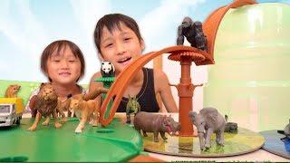 アニアのグラグラマウンテンバケツで遊んでみました。陸上の動物や、水...