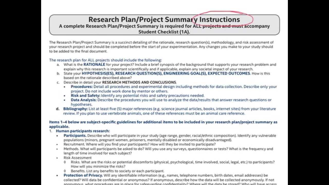 research plan project summary youtube