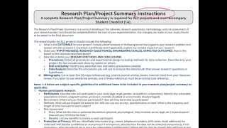 Research Plan/Project Summary