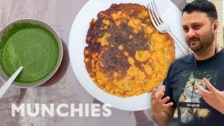15-Minute Chickpea Pancake with Mint Chutney