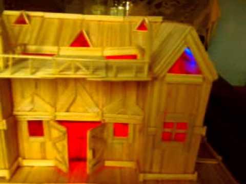 Nhà Tăm Tre Cực Đẹp. Có Lắp Đèn Led