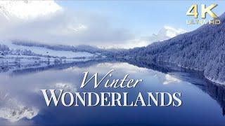 Winter Wonderlands - 4K Snowy Winter Scenery with Beautiful Piano Music - Snow Ambience