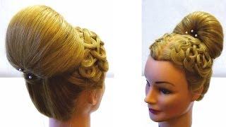 Прическа бабетта с плетением на праздник. Braided bun hairstyles for long and medium hair on holiday