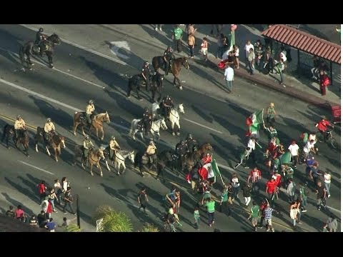 Mexico World Cup Victory Spills into CA Streets Police Arrest Rowdy Crowd
