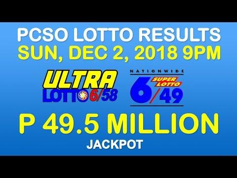 Lotto Result December 2 2018 9pm PCSO (6/58, 6/49, Ez2, Suertres, Stl)