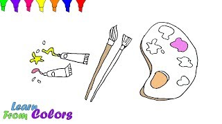 How to Draw Painting Set Tools For Painter Coloring Pages For Kids