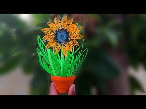 miniature flower pot with paper / how to make miniature paper flower / miniature paper vase