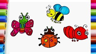 How to Draw Insects Butterfly, Bee, Ant, Lady bug and Coloring pages for Kids Learning Colors