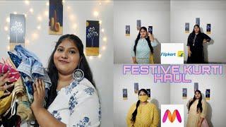 FESTIVE KURTI TRY ON HAUL Myntra Flipkart kurti kurta sets plus size kurti haul 2020
