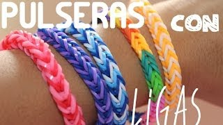 Repeat youtube video PULSERAS CON LIGAS - SUPER FACIL!!  (3 Diseños)
