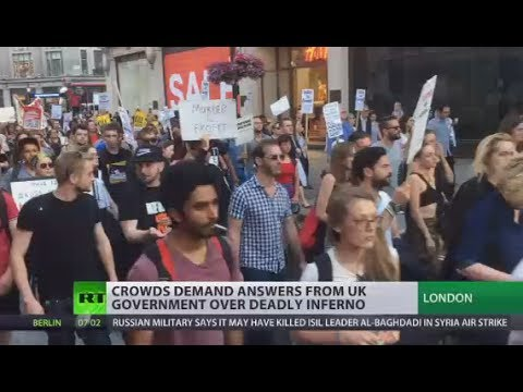 'We want justice!' Grenfell Tower fire protesters demand answers from UK govt over deadly inferno