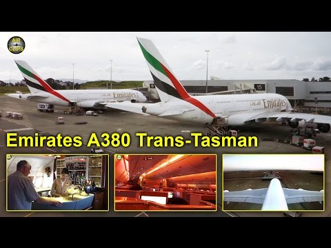 Emirates A380 Business Class Trans-Tasman Service Auckland-Melbourne [AirClips full flight series]