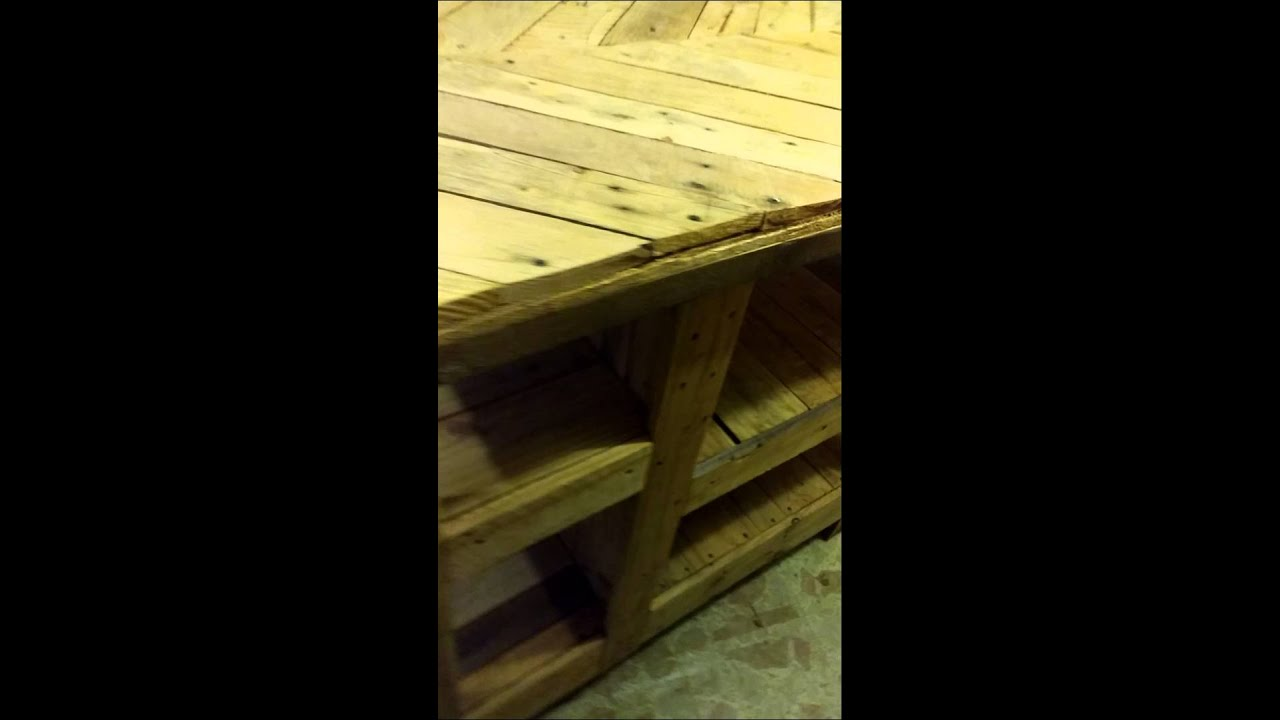 Kitchen Island Out Of Pallets kitchen island made from pallets - youtube