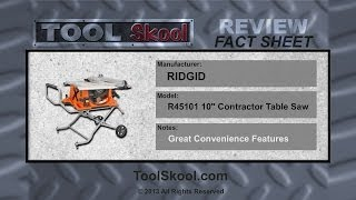 Ridgid R45101 Contractor Table Saw | Review