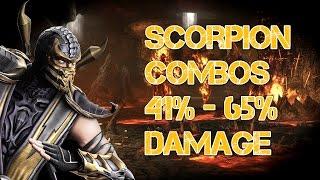 Mortal Kombat 9 - Scorpion Combos 41% - 65% Damage [2015] [60 FPS]