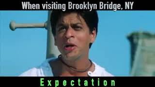 Expectation and reality when visiting Brooklyn bridge, NYC