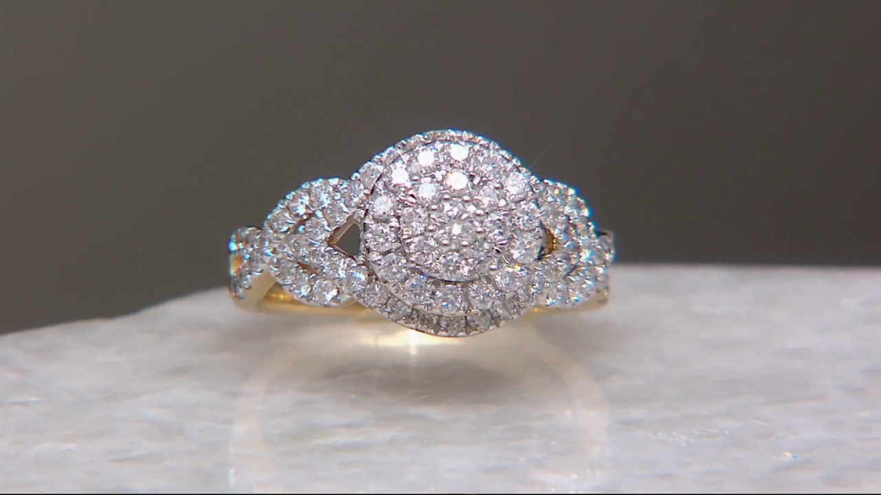 Pave' White Diamond Cluster Ring, 14k Gold 100 Cttw, By Affinity On Qvc
