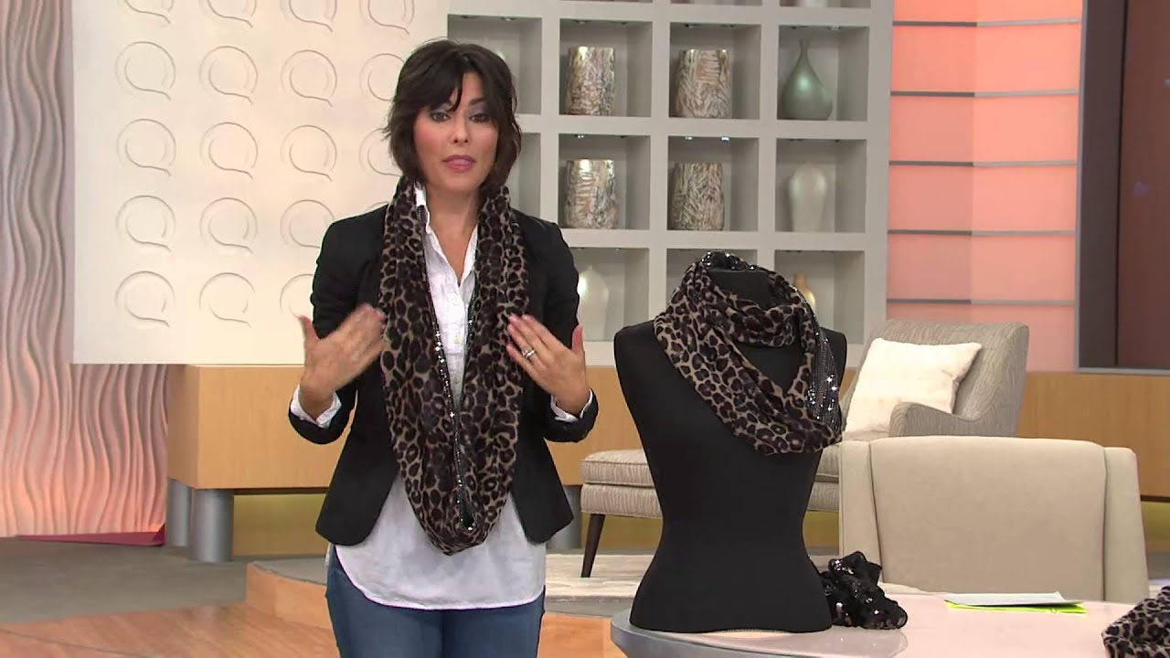 Joan Rivers Leopard And Sequin Infinity Scarf With Amy
